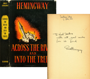 Ernest Hemingway signed first printing of Across The River and Into The Trees. Image courtesy Signature House.