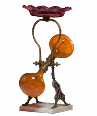 Glass parlor fountains are very rare. This 21-inch-high brass and blown glass fountain made about 1880-90 sold for $640 at Cowan's Auctions in Cincinnati.