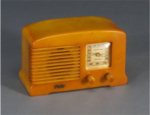 The compact Fada model 44 is prized by radio collectors. Having an butterscotch Bakelite housing, the set measures 5 1/2 by 9 by 4 inches. Image courtesy of Rago Modern Auctions and Live Auctioneers Archive.