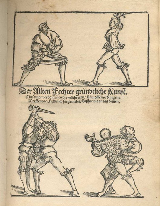 Der Allten Fechter Grundtliche Kunst (The Ancient Art of Fencing), 1531. Illustrated with beautiful wood engravings. , this rare edition entered in the sale as lot 30 is estimated at $7,500-$10,500. Image courtesy Adams Amsterdam Auctions and LiveAuctioneers.com.
