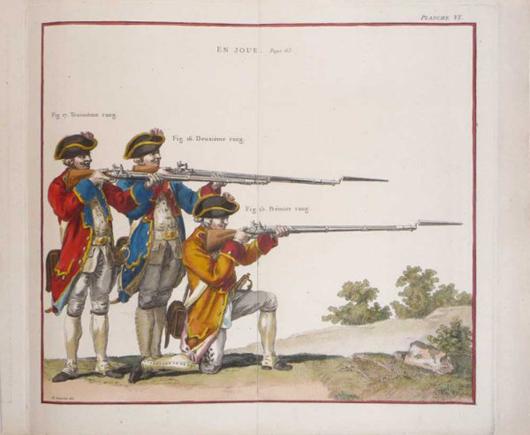 Gravelot. Planches Gravées D'après Plusieurs, published in Paris, 1766. Includes 36 figures of soldiers on 10 plates. Estimate $3,000-$4,500. Image courtesy Adams Amsterdam Auctions and LiveAuctioneers.com.