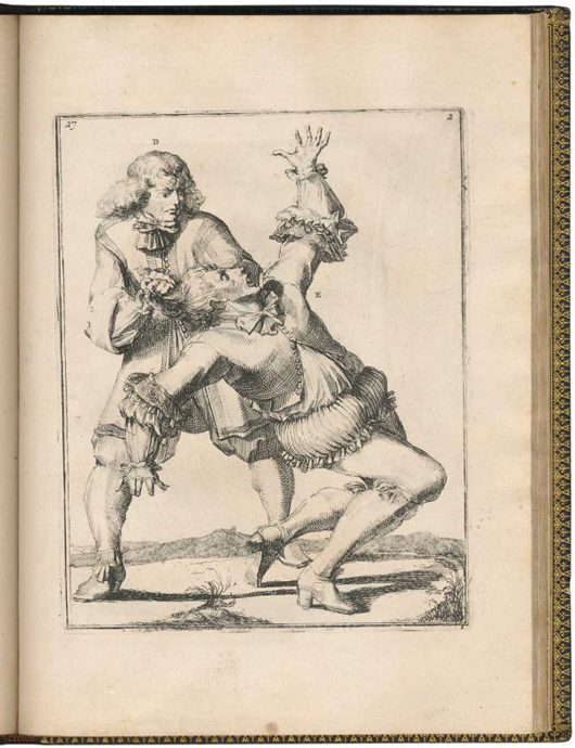 17th-century wrestling book written by Nicolaes Petter and illustrated by Romeyn de Hooghe (1645-1708) titled Der kunstliche Ringer. Estimate $4,500-$6,000. Image courtesy Adams Amsterdam Auctions and LiveAuctioneers.com.