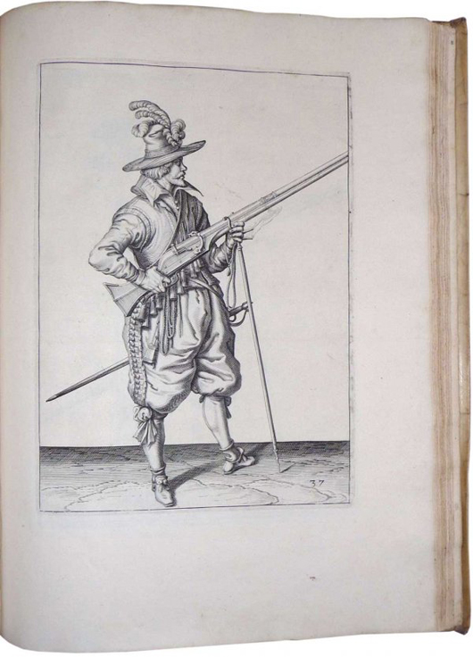 1607 first edition of the book Wapenhandelinghe (weapons handling) with 117 engravings by the Dutch artist Jacob de Gheyn to illustrate exercises in the use of the musket. Estimate $9,000-$12,000.