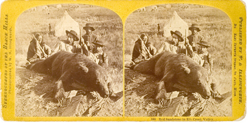 William H. Illingworth photographed Custer with a grizzly bear the general shot on the Army's expedition to the Black Hills in 1873. This stereo view card sold for $3,000 in 2005. Image courtesy of Cowan's Auctions.