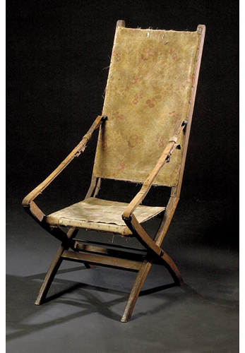 Custer's Indian Wars camp chair was given to noted frontier photographer David F. Barry. Deaccessioned by the Douglas County, Wis., Historical Society, the chair sold for $49,500 in 2005. Image courtesy of Cowan's Auctions.
