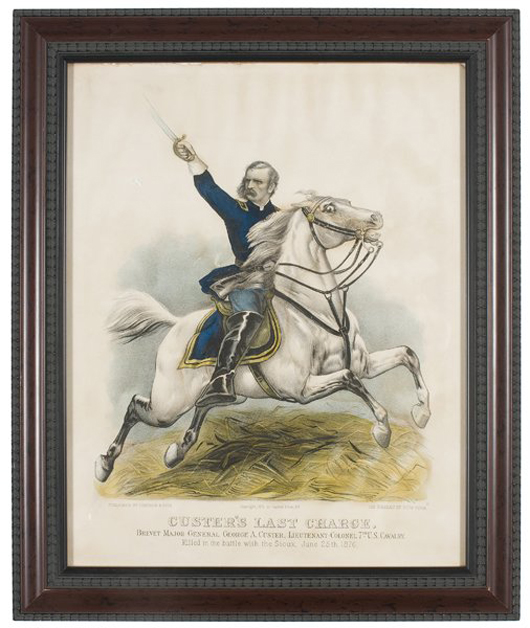 Currier and Ives titled their hand-colored lithograph 'Custer's Last Charge.' The 11 1/2- by 15-inch print sold for $650 last year. Image courtesy of Cowan's Auctions.