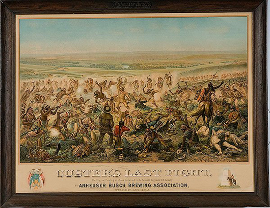 Anheuser-Busch memorialized 'Custer's Last Fight' with this dramatic chromolithograph in 1896. In its original frame, which measures 34 by 44 inches, this print sold for $1,600 last year. Image courtesy of Cowan's Auctions.