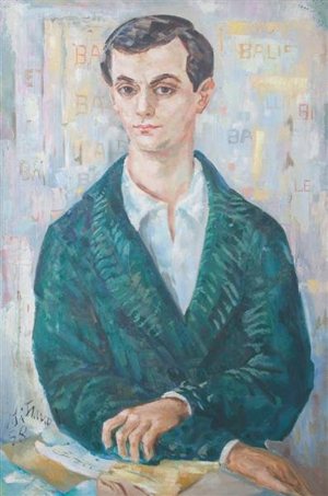 This unsigned portrait of Robert Joffrey is one of 137 lots from the estate of Gerald Arpino. Joffrey and Arpino cofounded the Joffrey Ballet. The 36- by 24-inch oil on canvas has a $300-$500 estimate in 1953. Image courtesy of Leslie Hindman Auctioneers.
