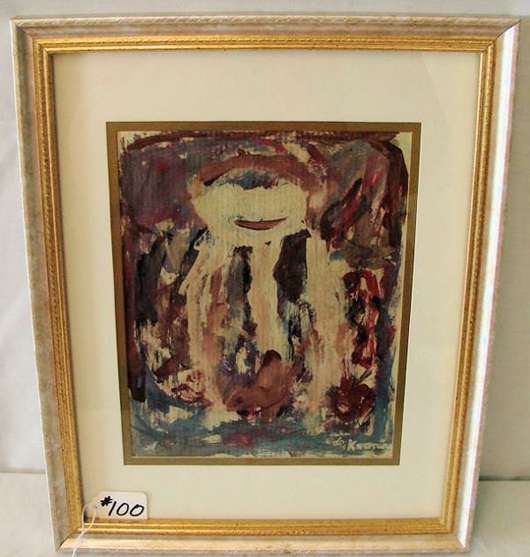 Signed 'de Kooning' on the lower right, this acrylic and oil painting on parchment is framed and matted under glass. The estimate for this relatively small work is $4,000-$6,000. Image courtesy of Professional Appraisers & Liquidators.