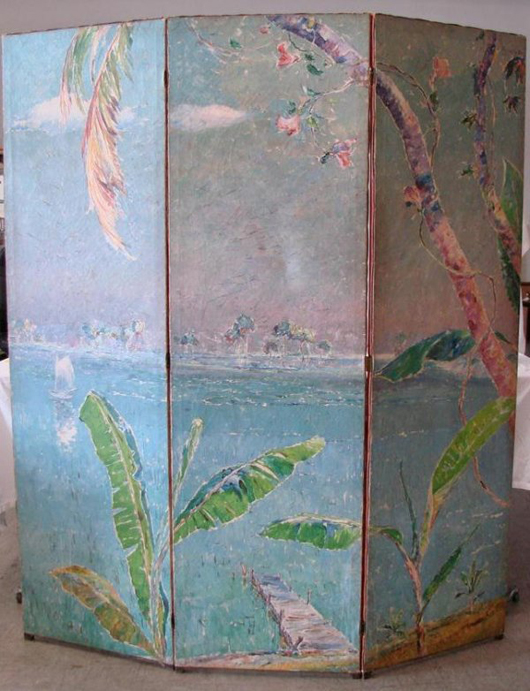 Theodore (Demerest) Coe, a listed artist born in 1866, signed this large dressing screen on the upper right panel and dated it 1932. The estimate is $1,500-$2,500. Image courtesy of Professional Appraisers & Liquidators.