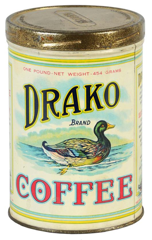 Drako Coffee tin featuring image of swimming drake, $2,300.