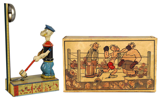 Chein Popeye Heavy Hitter wind-up toy with original box, ex Carl Lobel collection, $8,000.