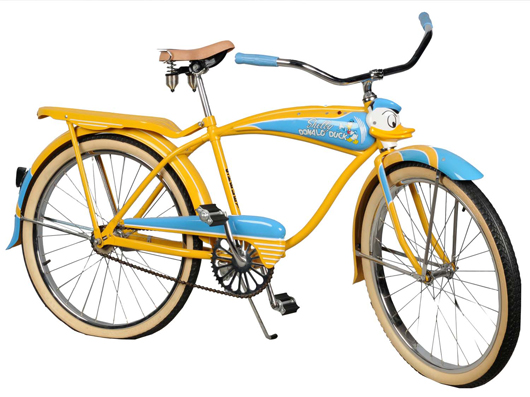 Shelby circa-1949 Walt Disney Donald Duck boy's bicycle with three-dimensional character's head, $6,900.