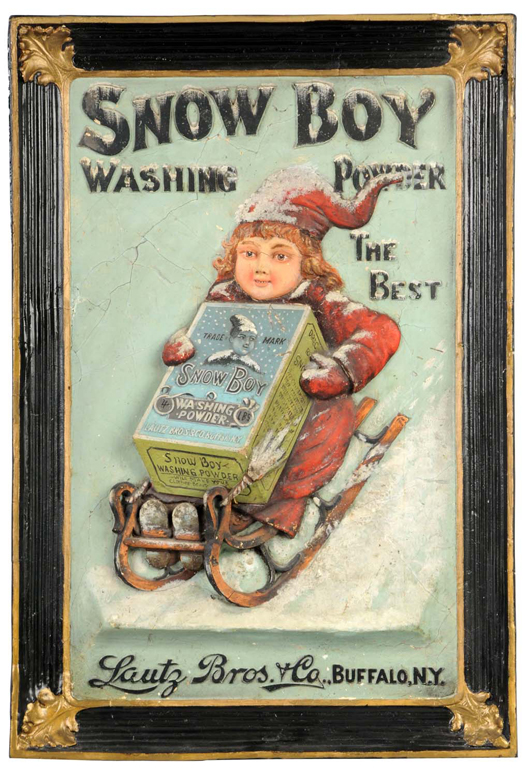 1890s-vintage bas-relief composition sign advertising Snow Boy Washing Powder, 23 inches by 34 inches, $15,000. Ex Joseph and Lilian Shapiro collection.