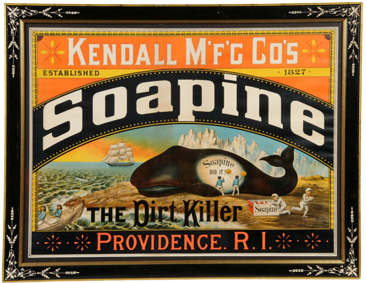 1880s-vintage lithographed paper sign for Soapine Soap, 38 inches by 30 inches, $17,250. Ex Joseph and Lilian Shapiro collection.