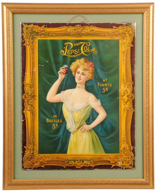"""Copyright 1907 heavy cardboard advertising sign featuring """"Miss Pepsi-Cola,"""" 27½ inches by 34 inches, $12,650."""