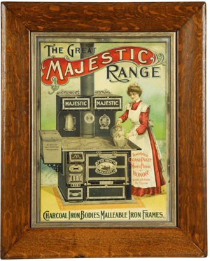 Late-19th-century embossed tin sign touting The Great Majestic Range, $7,500.