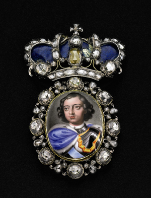 Peter the Great: early 18th-century Russian award portrait miniature with diamonds to be auctioned Nov. 2, 2009 at Sotheby's New York. Estimate $80,000-$120,000. Copyrighted image courtesy of Sotheby's.