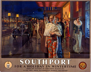 Fortunino Matania (1881-1963) created the poster 'Southport for a Holiday in Wintertime' circa 1938. The 40 3/4-inch by 42 1/2-inch poster has a £6,000-£8,000 ($9,000-$13,200 estimate). Image courtesy of Onslows Auctioneers.