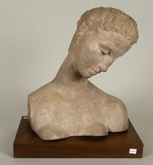 Attributed to Wilhelm Lehmbruck (German, 1881-1919) bust of a kneeling woman, terra cotta, bears inscribed signature