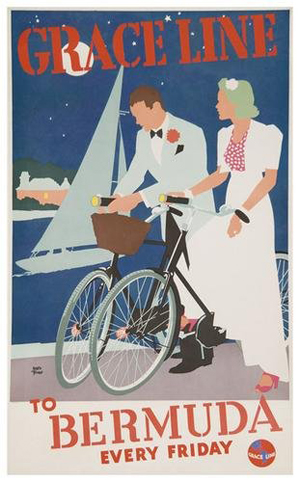'Bermuda Every Friday' – that's a hot ticket. Adolph Triedler's poster for Grace Lines dates to the early 1930s. Measuring 40 inches by 24 inches, the color lithograph has a $2,800-$3,200 estimate. Image courtesy Bloomsbury Auctions.