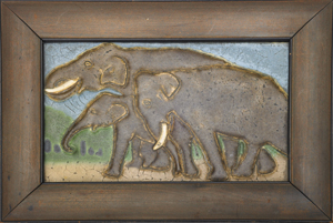 This rare horizontal Grueby tile features an incised and embossed scene of a family of elephants, covered in polychrome matte glazes. The example, mounted in a period Arts and Crafts frame, sold in June 2009 for $26,400. Courtesy Rago Arts and Auction Center