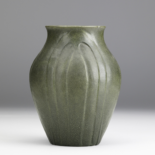 This bulbous Grueby vase with stylized leaves and feathered green glaze will be offered in a January 2010 Rago 20th Century Decorative Arts sale (estimate $1500-2000). Courtesy Rago Arts and Auction Center