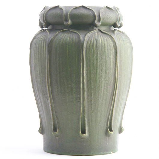 This gourd-shaped Grueby vase – 12 inches high – combined excellent form and glaze and sold in 2006 for $24,000 at the Rago Arts and Auction Center. Courtesy Rago Arts and Auction Center