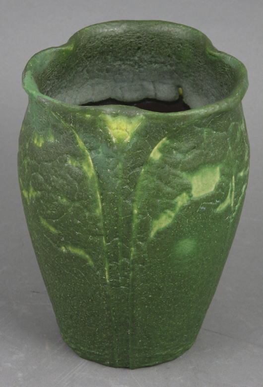 A signed sculpted Grueby vase in green glaze was sold in August by Kaminski Auctions for $1800. Courtesy Kaminski Auctions