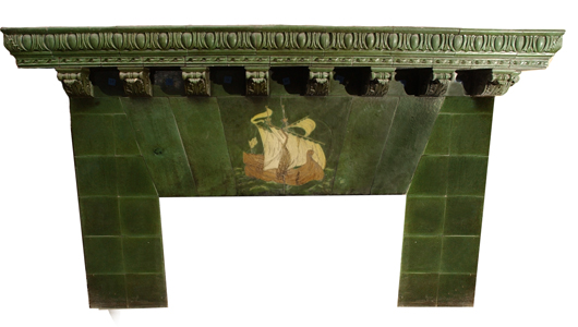 This rare Grueby fireplace surround was originally installed in a Maine bank building and sold in August 2005 for $32,000. The tiles include a central ship image and 12 elaborate corbels which support the mantel. The installation is now in the art pottery collection of the Two Red Roses Foundation in Florida. Courtesy Kaminski Auctions