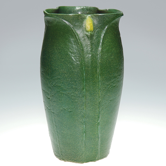 An 8½ inch vase with the Grueby logo and monogram of modeller Ruth Erickson sold last June at the Cincinnati Art Galleries for $1700. A special touch is the yellow accent on the flower buds. Courtesy Cincinnati Art Galleries