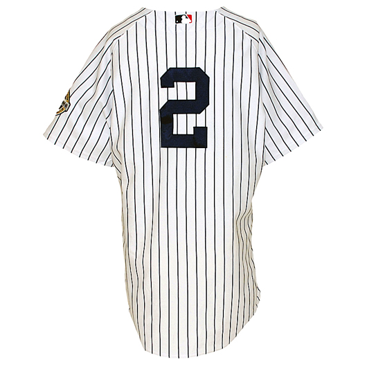 d24f05dc7 Derek Jeter New York Yankees game-used home jersey with Inaugural Season  patch from 2009