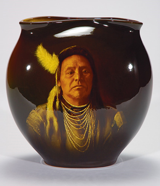 1898 Rookwood standard glaze pillow vase with the portrait of Chief Joseph, the work of Matt Daly. Sold for $51,000 on Nov. 6, 2005 at Cincinnati Art Galleries. Image courtesy LiveAuctioneers.com Archive and Cincinnati Art Galleries.