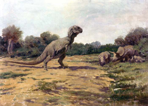 1919 Charles R. Knight (1874-1953) painting of a Tyrannosaurus rex in an outdated posture. Originally ran in National Geographic. Courtesy Wikimedia Commons.