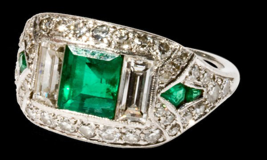 The largest emerald in this Cartier ring is approximately 1 carat. Set in platinum, it has a $5,000-$6,000 estimate. Image courtesy of Fuller Fine Art Ltd.