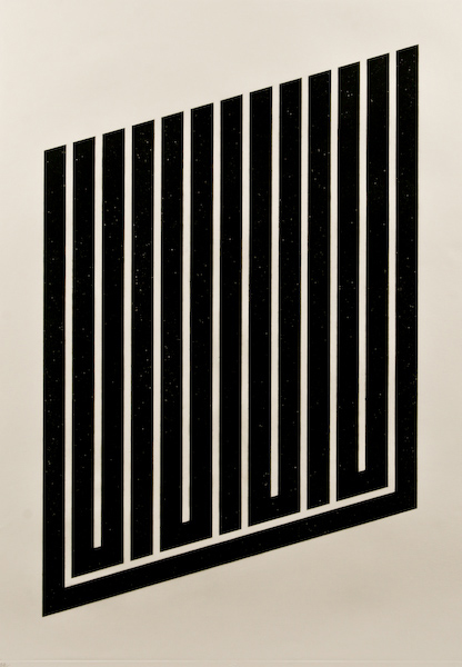 Donald Judd (American, b. 1928) created this untitled aquatint, 1974-1979. It is 40 1/4 inches by 29 3/4 inches and numbered and signed along the lower margin '44/175 Judd.' The unframed print has a $2,000-$2,500 estimate. Image courtesy of Fuller Fine Art Ltd.