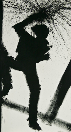 Richard Hambleton's untitled ink on paper image is reminiscent of his Shadow Man concept. This work, which measures 87 1/2 inches by 48 1/4 inches, has a $2,000-$3,000 estimate. Image courtesy of Fuller Fine Art Ltd.