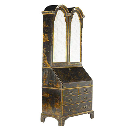 Chinoiserie decoration of exotic birds and flowering branches adorn this 18th-century Queen Anne secretary desk. The black lacquer beauty has a $10,000-$15,000 estimate. Image courtesy of Rago Arts and Auction Center.
