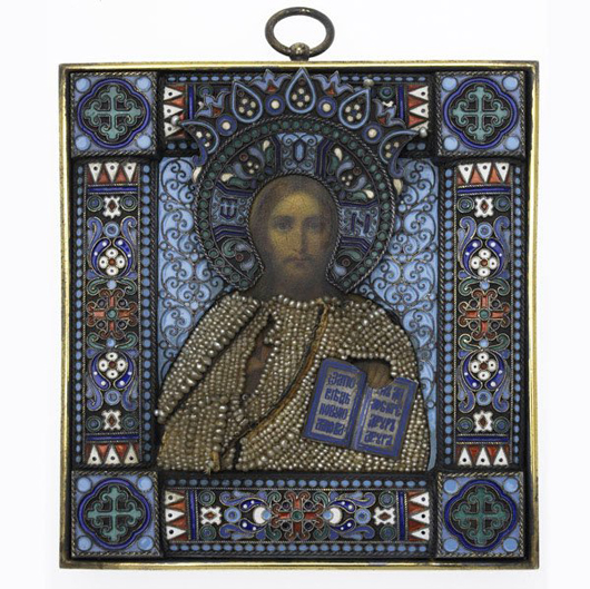 Pavel Ovchinniko created this enameled silver and seed pearl icon of Christ Pantocrator in Moscow circa 1890. It is 4 5/8 inches high by 4 1/4 inches wide and has a $10,000-$20,000 estimate. Image courtesy of Rago Arts and Auction Center.