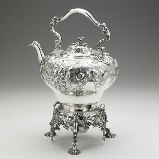 London silversmiths Hunt and Roskell crafted this Georgian silver kettle in 1834. It has profuse floral and roquille decorations. The ornate stand with burner bears the mark of William Elliot, London, 1822. The estimate is $4,000-$6,000. Image courtesy of Rago Arts and Auction Center.
