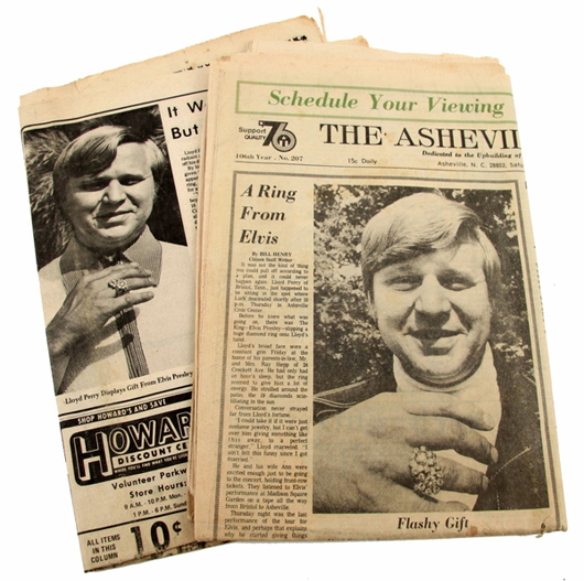 Local newspapers pictured Elvis fan Lloyd Perry wearing the diamond ring Presley gave him during a concert. The newspapers are among memorabilia to be auctioned with the ring. Image courtesy of Affiliated Auctions.