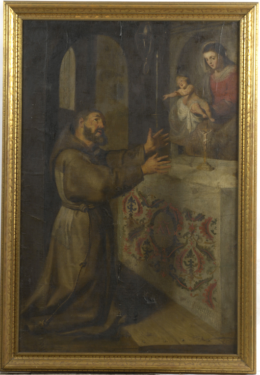 A large 18th-century copy of The Vision of St. Francis after Domenichino (Italian, 1581-1641), brought $345 at Cowan's.