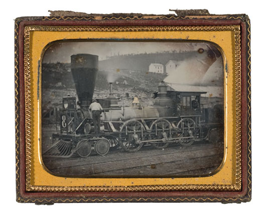 An extremely rare Quarter Plate Daguerreotype of a Steam Locomotive, estimated to bring $5/7,000