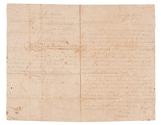 Lot 190: Confederate Vice President Alexander Stephens' Copies of the Appomattox Surrender Terms and General Order No. 9, estimated to bring $10/15,000