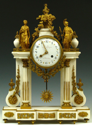 The eight-day time-and-strike movement is on this French doré bronze and marble portico clock is signed 'Etienne Maxant Brevette.' It is 22 1/2 inches high and 17 inches wide. The estimate is $3,000-$5,000. Image courtesy of Dirk Soulis Auctions.