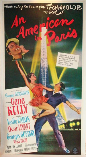 The MGM musical 'An American in Paris,' 1951, won Best Picture and a half-dozen other Oscars. This linen-backed three-sheet featuring Gene Kelly and Leslie Caron has a $1,000-$1,500 estimate. Image courtesy of Mid-Hudson Auction Galleries.
