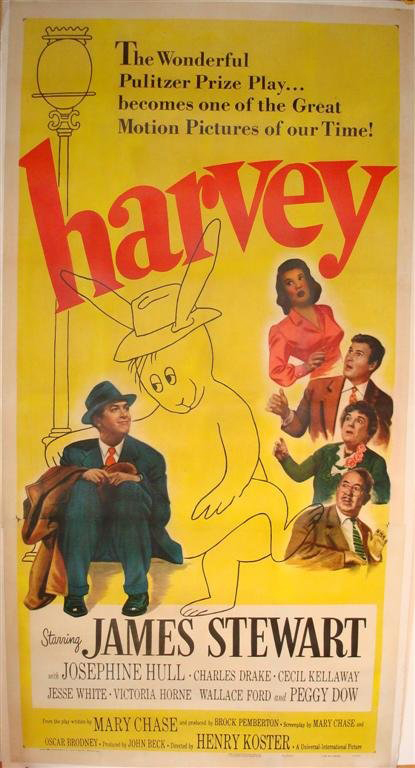 'Harvey,' the film version of Mary Chase's Pulitzer Prize winning play was released by Universal in 1950. This three-sheet poster, 81 inches by 41 inches, is linen backed and has an $1,800-$2,200 estimate. Image courtesy of Mid-Hudson Auction Galleries.