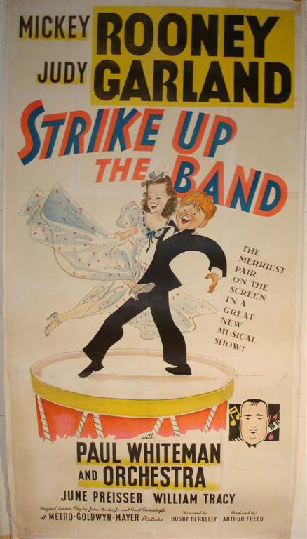 Judy Garland was just one year removed from 'The Wizard of Oz' when she starred with Mickey Rooney in MGM's 1940 hit 'Strike Up the Band.' This linen-backed three-sheet is estimated at $1,800-$2,000. Image courtesy of Mid-Hudson Auction Galleries.