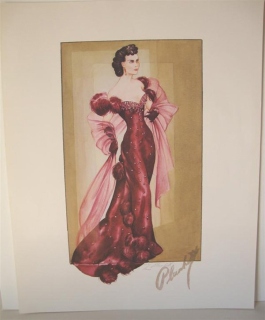 Had Oscars been awarded for Best Costume in 1939 (the category didn't exist until 1948) designer Walter Plunkett surely would have won for 'Gone With the Wind.' This picture of a gown he designed for Scarlett O'Hara is part of a limited-edition portfolio of signed lithographs. With its original envelope, the set of prints has an $800-$1,200 estimate. Image courtesy of Mid-Hudson Auction Galleries.
