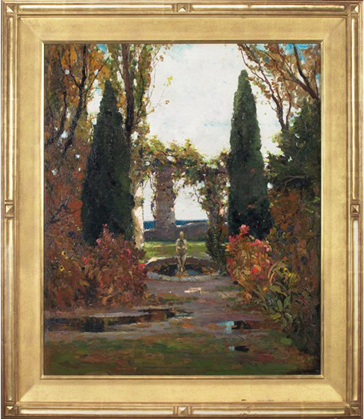 Anthony Thieme (American, 1888-1954) painted 'Garden in Autumn' about 1925. The signed oil on canvas is 36 inches by 30 inches and has a Rockport Art Association label on verso. The estimate is $25,000-$35,000. Image courtesy Treadway Gallery.